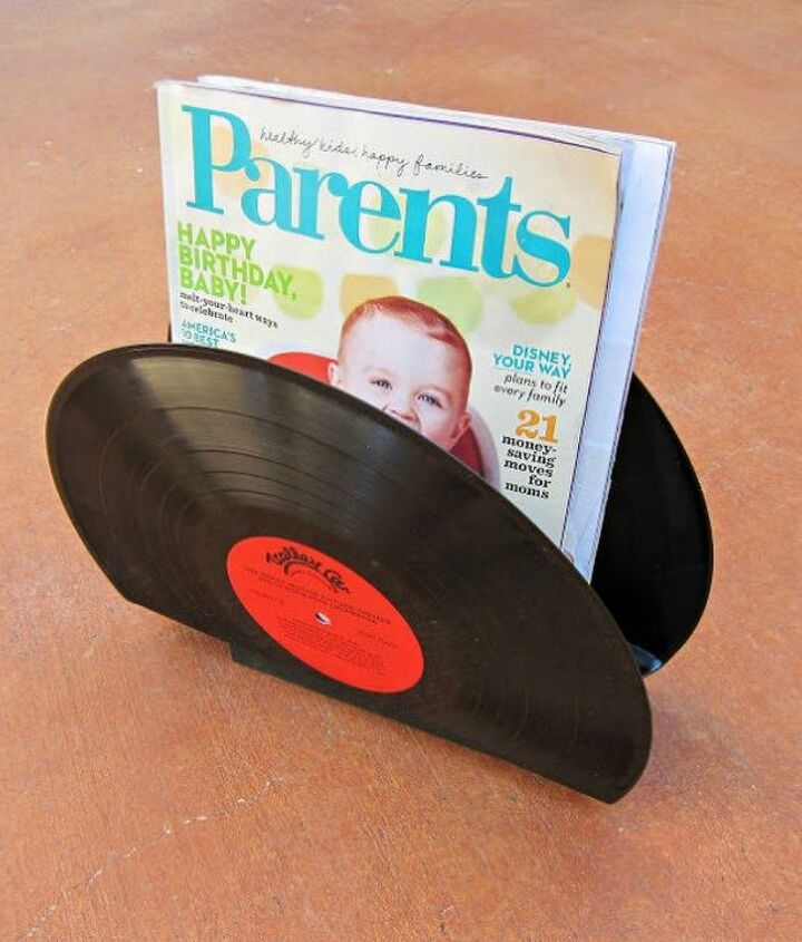 s 13 desk ideas that will make you smile at work, painted furniture, This magazine holder made from old records