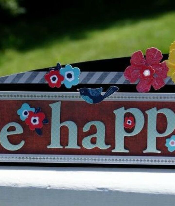 s 13 desk ideas that will make you smile at work, painted furniture, This Be Happy sign made from a name plate