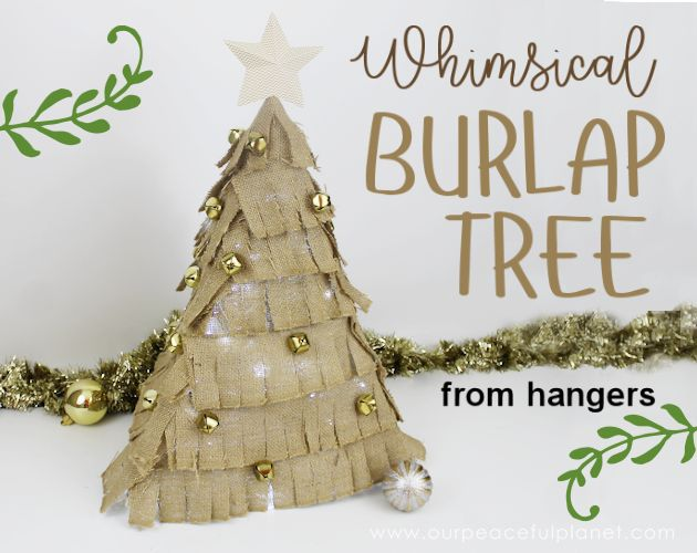 burlap tree from 6 hangers, crafts
