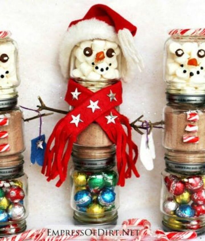 s 13 surprising ways to make a snowman for your porch, Stack baby jars and fill them with goodies