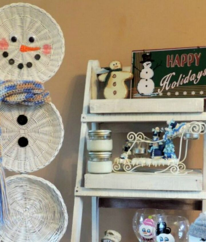 s 13 surprising ways to make a snowman for your porch, Paint some thrift store baskets white