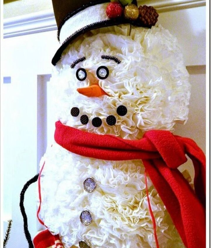 s 13 surprising ways to make a snowman for your porch, Trim coffee filters on a round plates