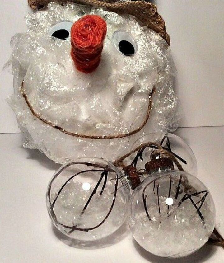 s 13 surprising ways to make a snowman for your porch, Gather some tulle around a styrofoam ball