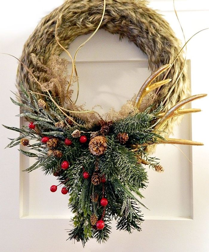 faux fur antler wreath, crafts, wreaths