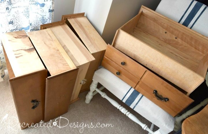 turn a pile of leftover drawers into a bookshelf, shelving ideas, storage ideas