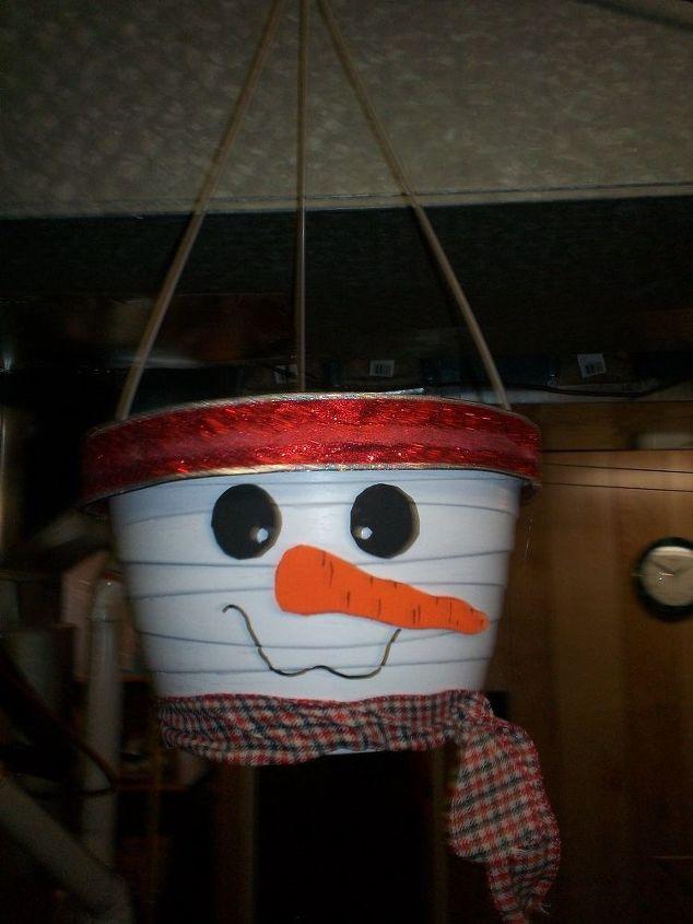 Hanging Snowman Planter