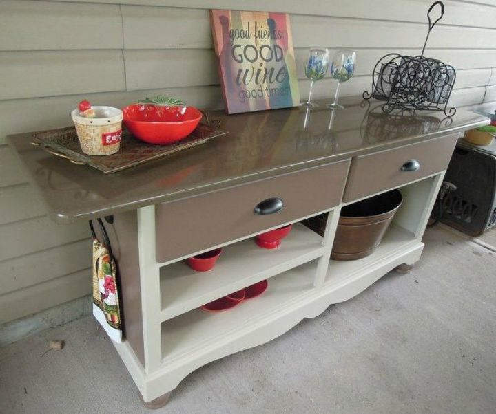 s 12 shocking things you can do with your old dresser, painted furniture, Turn it into a patio entertaining island