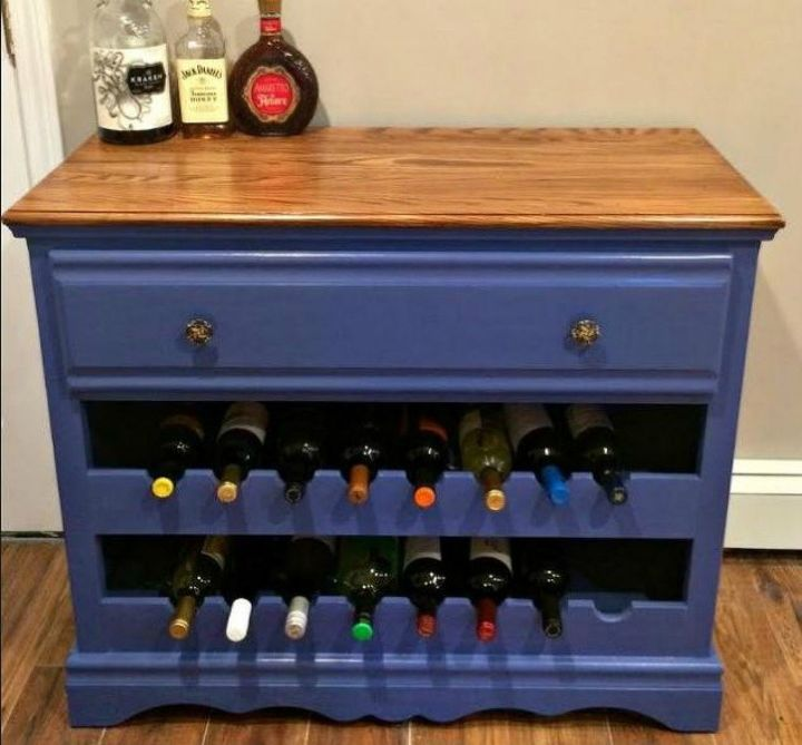 s 12 shocking things you can do with your old dresser, painted furniture, Turn it into a stylish wine bar