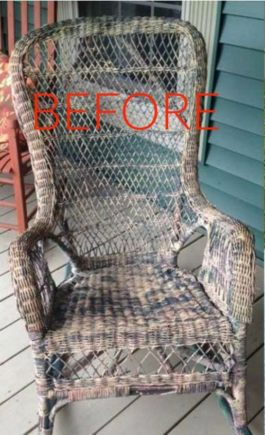 s make wicker trendy again with these brilliant ideas, painted furniture, Before An old and dirty wicker rocking chair