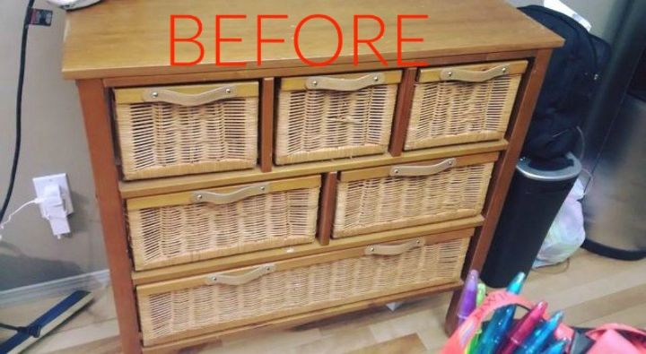 s make wicker trendy again with these brilliant ideas, painted furniture, Before An outdated wicker storage hutch