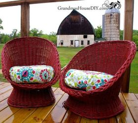 After: A Comfy And Vibrant Place To Sit. The Red Painted Wicker ...