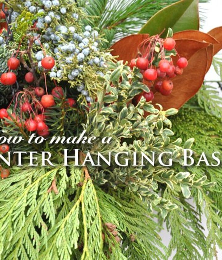 diy winter hanging basket, crafts