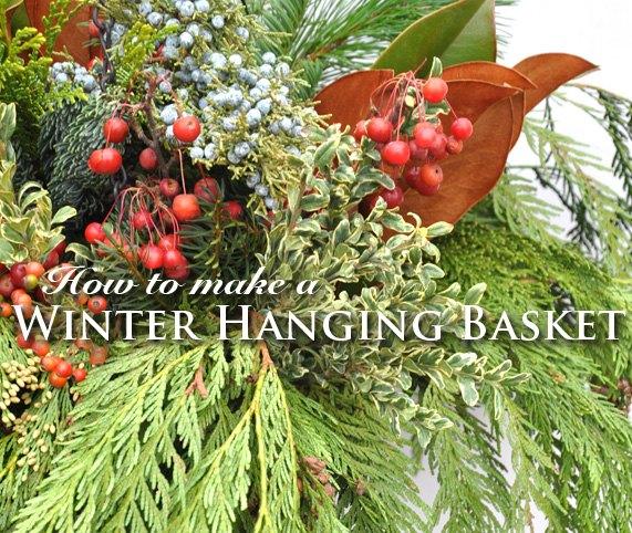 diy winter hanging basket, crafts