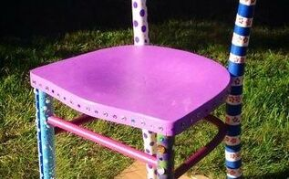 hand painted welcome chair, repurposing upcycling