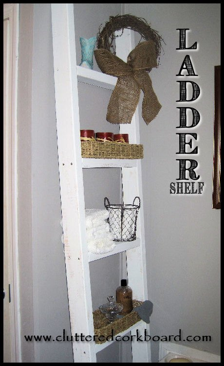 small wasted space so i decided to diy a ladder shelf, shelving ideas