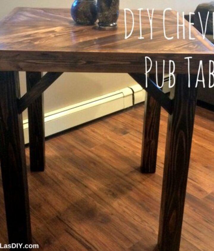 diy chevron pub table, painted furniture