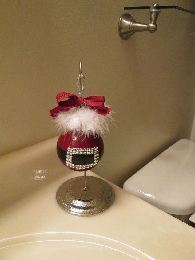 s forget your tree this will make you rethink where you hang ornaments, christmas decorations, seasonal holiday decor, Put them on your bathroom vanity