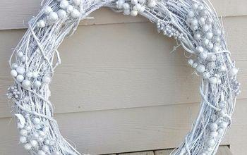 winter white christmas wreath, crafts, wreaths