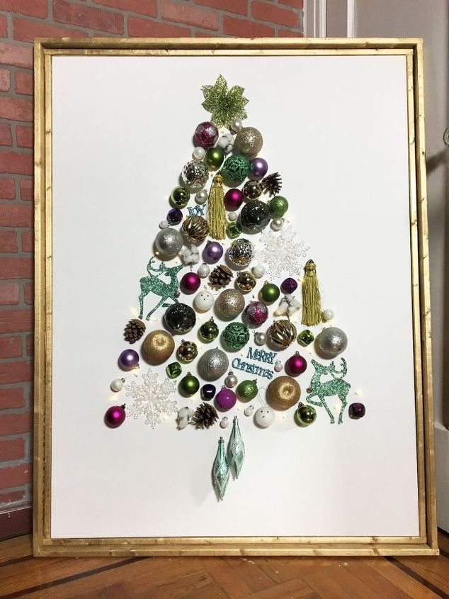 light up ornament tree on canvas, christmas decorations, seasonal holiday decor