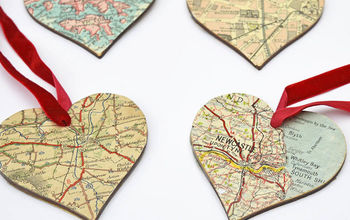 diy christmas map heart ornaments , christmas decorations, seasonal holiday decor