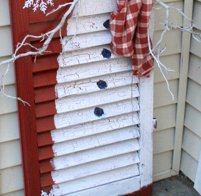 old shutter snowman, curb appeal