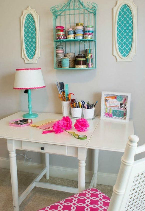s you might rethink your home office when you see these brilliant ideas, home decor, home office, This chic white desk and bright pink chair