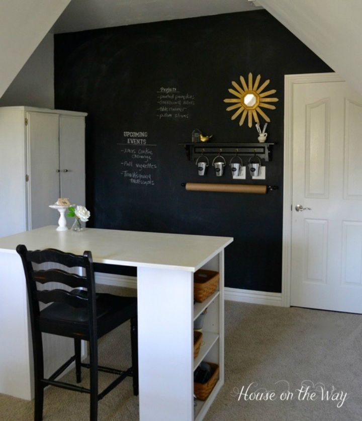 s you might rethink your home office when you see these brilliant ideas, home decor, home office, This one with a full length chalkboard wall
