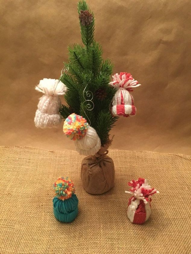 mini stocking hat ornaments or package toppers, christmas decorations, seasonal holiday decor