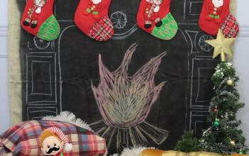A Faux Fireplace With Chalkboard