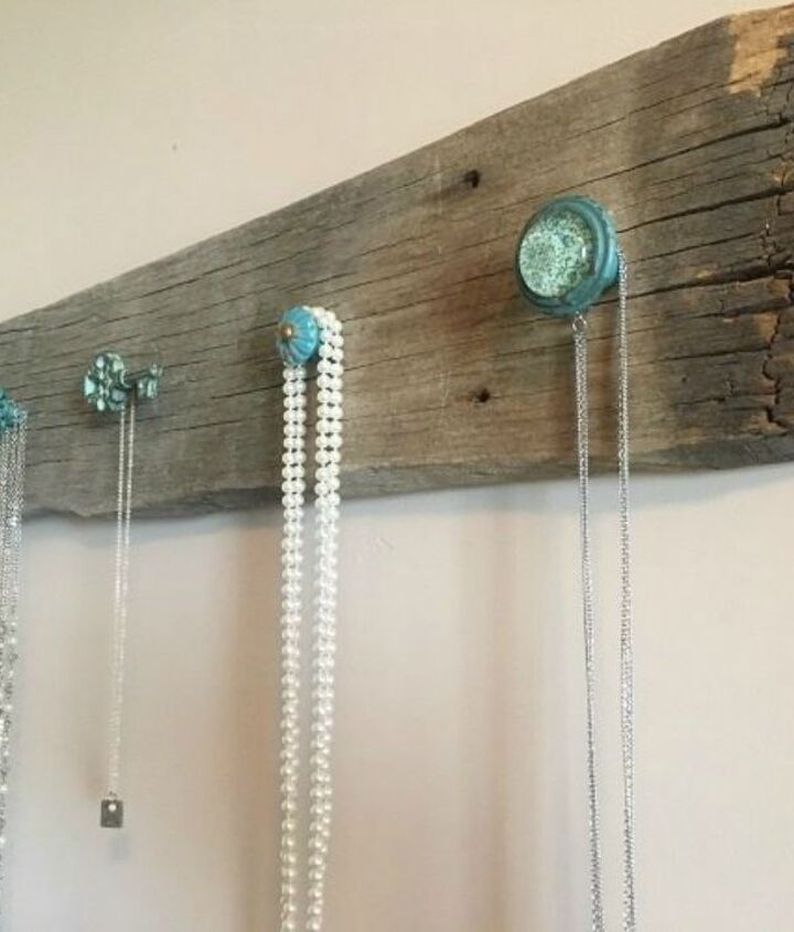 s 13 clever ways to hang up your jackets, Screw colorful knobs onto barn wood