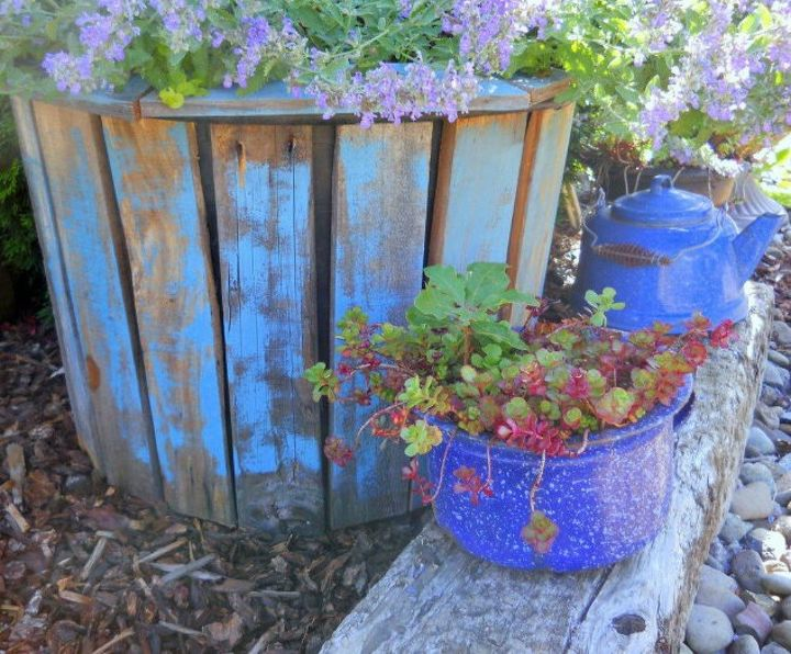 s transform your cheap planters with these 15 stunning ideas, gardening, Decorate it with pallet board