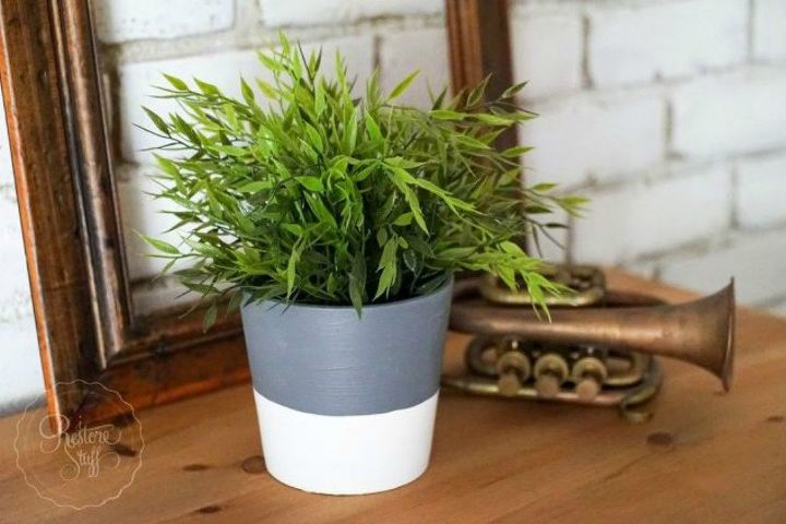 s transform your cheap planters with these 15 stunning ideas, gardening, Paint it to look like a concrete planter