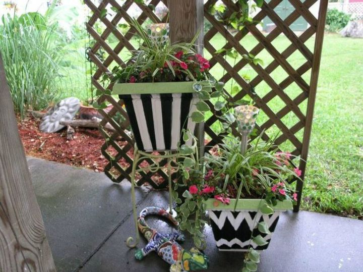 s transform your cheap planters with these 15 stunning ideas, gardening, Contrast it with black and white patterns