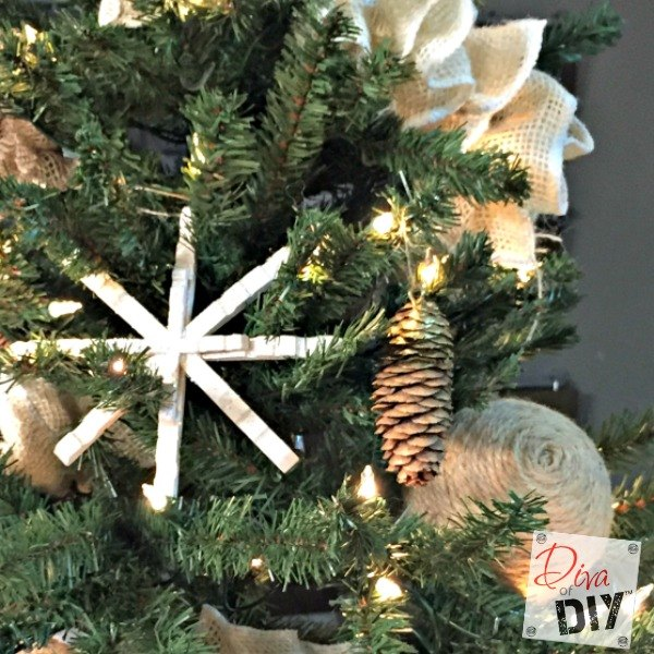 diy clothespin snowflake ornament, christmas decorations, seasonal holiday decor