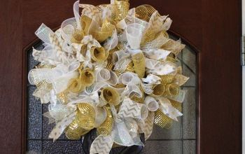 Gold and White Deco Mesh Wreath Tutorial