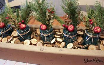 mason jar holiday centrepiece, mason jars