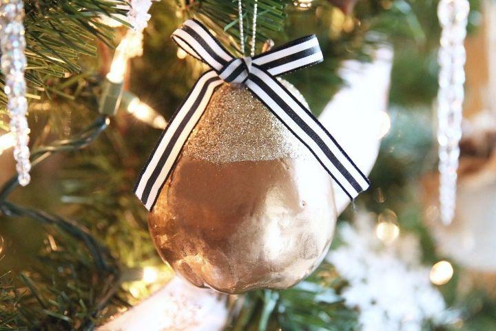 diy glitter pear christmas ornament from the dollar tree, christmas decorations, seasonal holiday decor