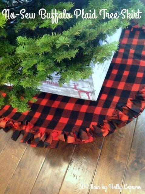 no sew buffalo plaid christmas tree skirt