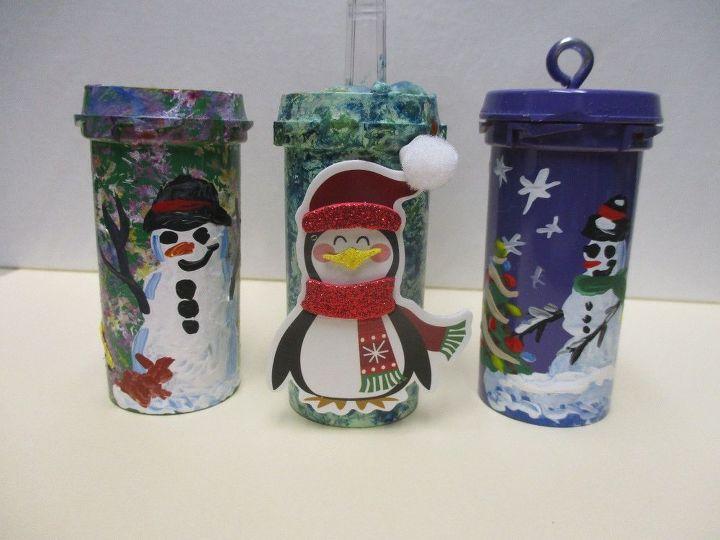 re purposed pill bottle christmas tree ornaments, christmas decorations, seasonal holiday decor