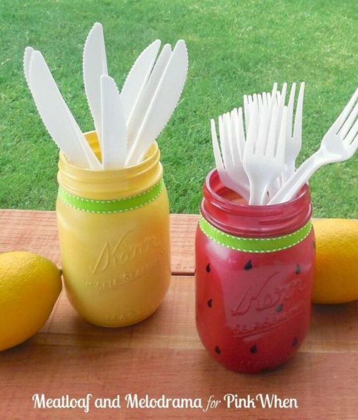 s 14 exciting mason jar ideas you just have to try, mason jars, 3 The cutlery holder for your BBQ table