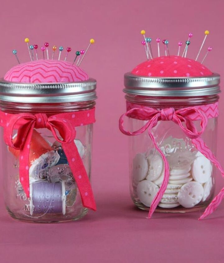 s 14 exciting mason jar ideas you just have to try, mason jars, 4 The darling sewing kit pin cushion lid
