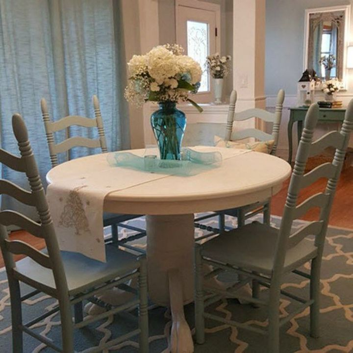 s 9 dining room table makeovers we can t stop looking at, painted furniture, After A charming farmhouse blue