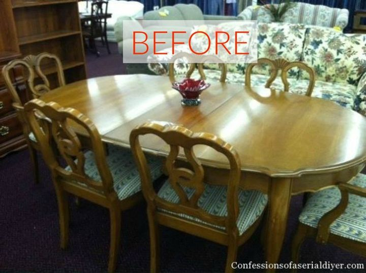 s 9 dining room table makeovers we can t stop looking at, painted furniture, Before A mustard yellow wood finish