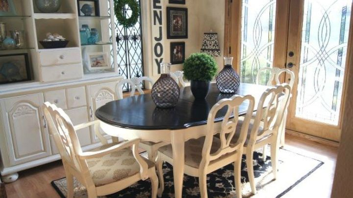 s 9 dining room table makeovers we can t stop looking at, painted furniture, After A stunning contrast of dark and light