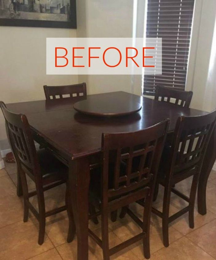 s 9 dining room table makeovers we can t stop looking at, painted furniture, Before A darkly stained table