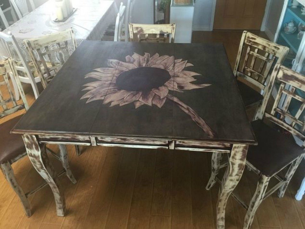 After A Sunflower Tabletop With Rustic Chair