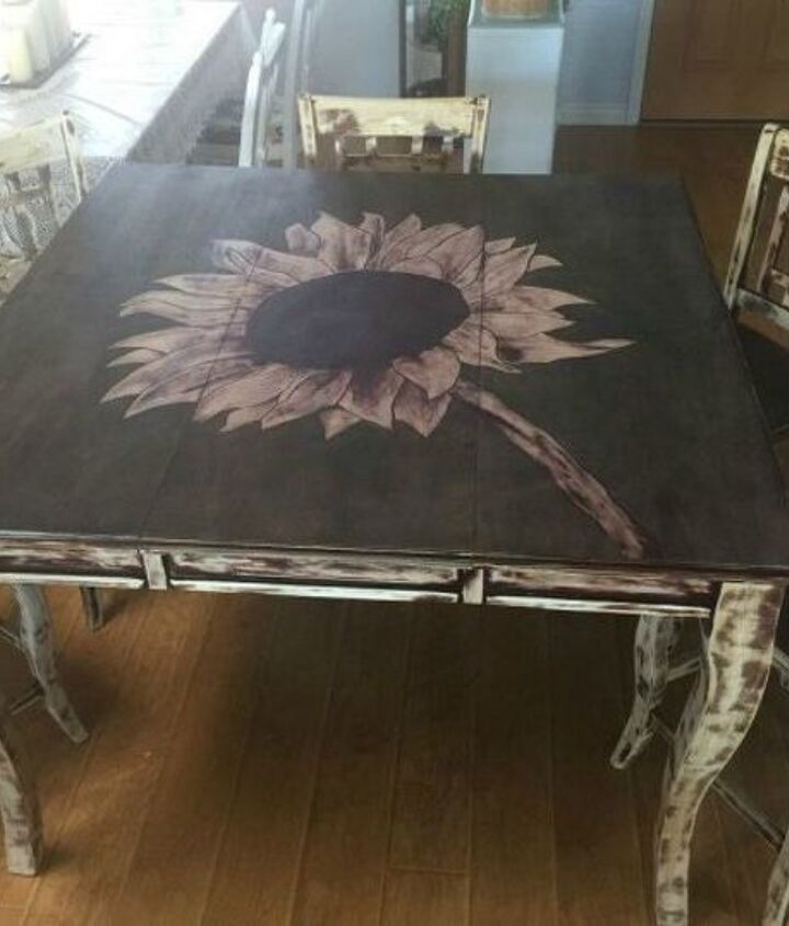 s 9 dining room table makeovers we can t stop looking at, painted furniture, After A sunflower tabletop with rustic chair