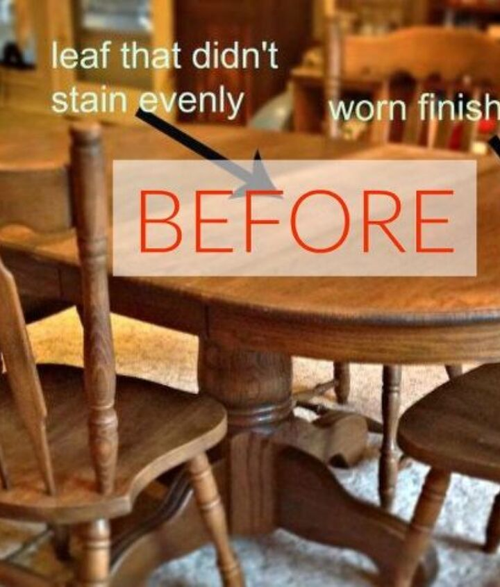 s 9 dining room table makeovers we can t stop looking at, painted furniture, Before A 33 year old worn down table