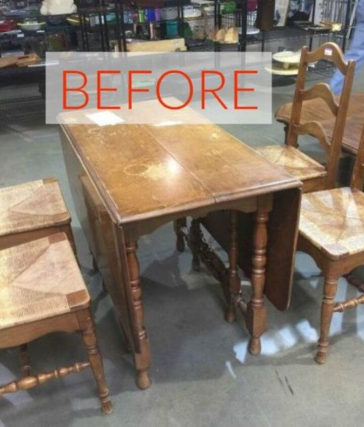 s 9 dining room table makeovers we can t stop looking at, painted furniture, Before An old and water stained table