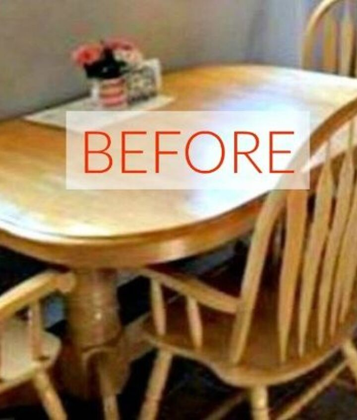 s 9 dining room table makeovers we can t stop looking at, painted furniture, Before An orange 90s table